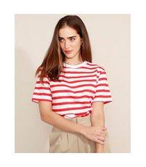 t-shirt listrada manga curta decote redondo mindset vermelha
