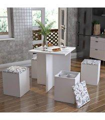 conjunto para sala de jantar mesa 4 banquetas lilies móveis