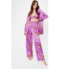 womens drive me wild tiger 3-pc pants pajama set - purple