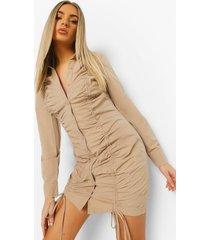 blouse jurk met lange mouwen en ruches, camel