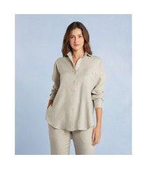 camisa glaucia new em linho com manga longa e bolso cor: cinza - tamanho: pp
