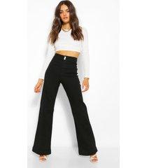 basic getailleerde denim uitlopende jeans, zwart