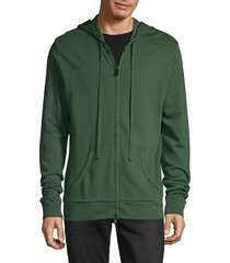 zadig & voltaire men's full-zip cotton-blend hoodie - green - size s