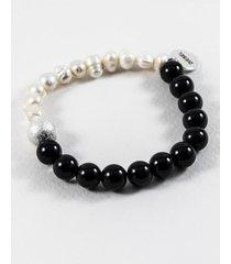 pulsera gris diesel perlas naturales y onix
