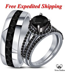 black diamond white gold plated 925 silver bride & groom trio wedding ring set
