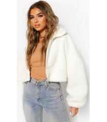 petite oversized faux fur teddy bomberjack, crème