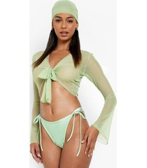 hoog uitgesneden bikini broekje met zijstrikjes, green