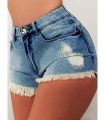 detalles de borla en bolsillos laterales de mezclilla shorts de talle alto