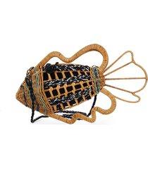 aranaz women's flounder wicker clutch