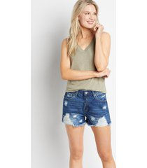 kancan™ womens classic non-stretch high rise dark ripped 3.5in shorts blue - maurices