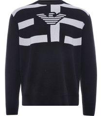 emporio armani silk blend sweater oversized jacquard r-eacreate logo | nero | 3k1mxl-1mzzz