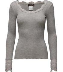 silk t-shirt regular ls w/wide lace t-shirts & tops long-sleeved grijs rosemunde