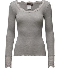silk t-shirt regular ls w/wide lace t-shirts & tops long-sleeved grijs rosemunde