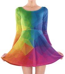 rainbow geometric shapes longsleeve skater dress