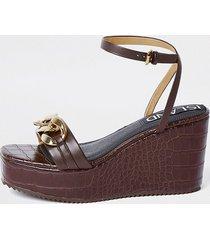 river island womens brown gold chain detail wedge heels