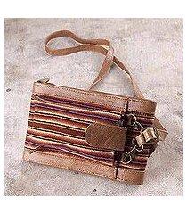 wool accented leather wallet bag, 'rustic elegance' (peru)