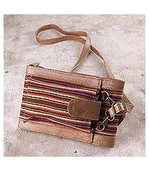 wool accented leather wallet bag, 'rustic elegance' (peru)