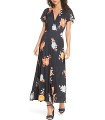 women's french connection shikoku jersey maxi dress, size 2 - black
