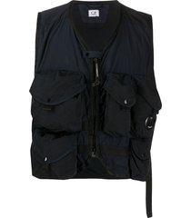 c.p. company multi-pocket gilet jacket - blue