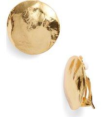 karine sultan eva shell disc clip-on earrings in gold at nordstrom