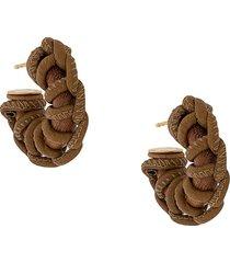 bottega veneta braided-detail short earrings - brown