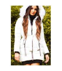 trendy winterjas met riem + afneembare capuchon wit