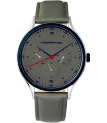 morphic m65 series, grey leather band watch w/day/date, 42mm