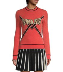 off-white women's swans graphic sweater - red gold - size 42 (6)