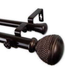 "braided double curtain rod 1"" od 66-120 inch"