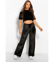 velvet box t-shirt en broek met wijde pijpen set, zwart