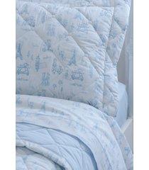 colcha com porta travesseiro matelada 200 fios infantil boys in paris - scavone - azul/branco - dafiti