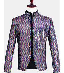 mens reversibile colorful paillettes dress suit stage banquet wedding night club vestito casual blazer