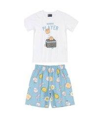 pijama família pai e filho estampado quimby branco