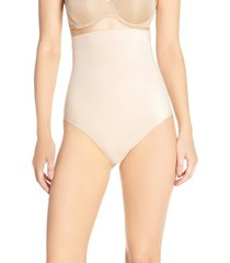 women's spanx suit your fancy high waist thong, size large - beige