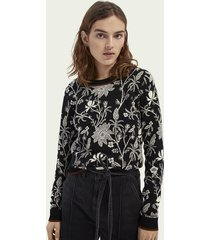scotch & soda gebreide katoenen sweater met bloemenprint