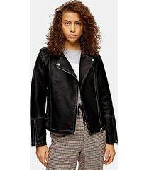 faux leather pu stitched jacket - black