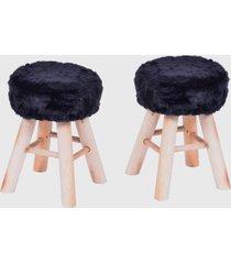 conjunto 2 puffs glamour base madeira preto ordesign - preto - dafiti