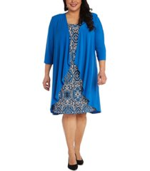 r & m richards 2-pc. open-front jacket & printed dress set