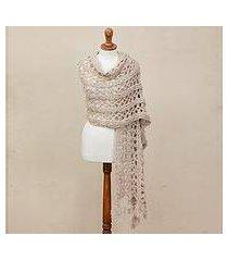 alpaca blend shawl, 'taupe lattice' (peru)