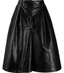 msgm faux-leather wide leg shorts - black