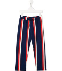 mini rodini striped organic-cotton track pants - blue