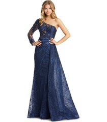 mac duggal embellished one-shoulder gown