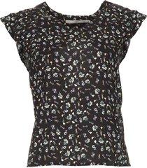 blouse met bloemenprint deno  zwart