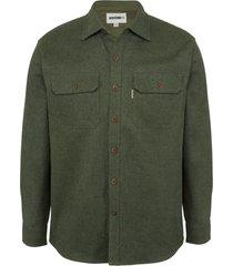 wolverine claw twill shirt dark olive heather, size l