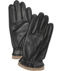 club room men's cashmere lined leather gloves, created for macy's