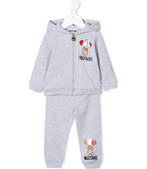 moschino teddy bear print tracksuit set - grey