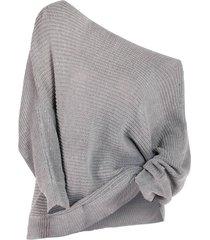 plus size skew neck batwing sleeve sweater