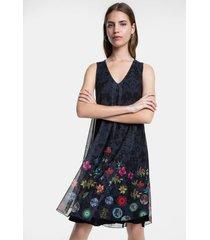 double floral print dress - blue - xxl