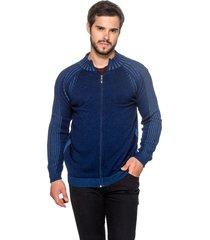 jaqueta officina do tricô canadá azul