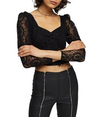 women's topshop lace corset crop blouse, size 6 us (fits like 2-4) - black